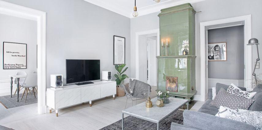 Eklektyczne szwedzkie mieszkanie w odcieniach szaro ci for Schwedische einrichtung